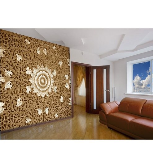 Brown Non Woven Paper The Mughal Embroidery Wallpaper By Wallskin