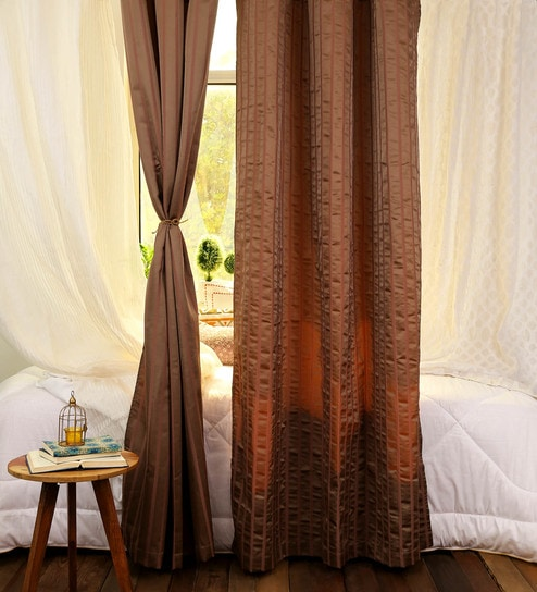Superior Brown Polyester 48 X 86 Inch Jacquard Curtains   Set Of 2 By Turkish Bath