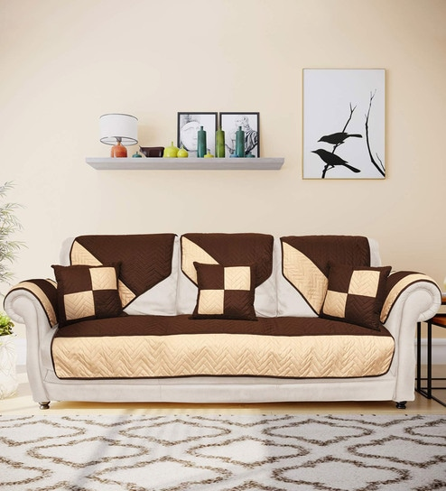 Brown Polyester 70 GSM Patch 3 Seater Sofa Cover by @home