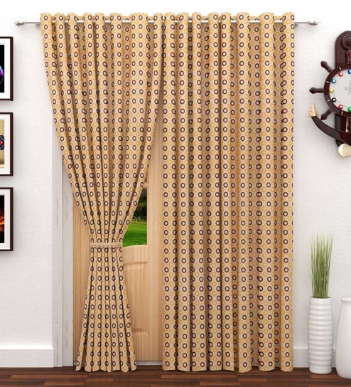 Geometric Pattern Polyester 7 Feet Long Door Curtain Set Of 2 By StoryHome