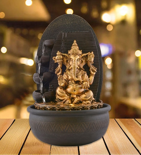 Brown Polystone Ganesha Home Decor Beautiful Water Fountain By The Exclusive Deco