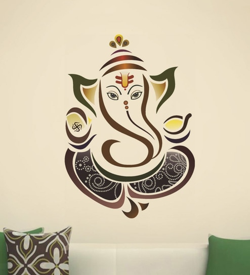 8f6d5ac7913 Buy Brown PVC Vinyl Colourful Ganesha Wall Sticker by Decor Kafe Online - Spiritual  Wall Stickers - Wall Stickers - Wall Art - Pepperfry Product