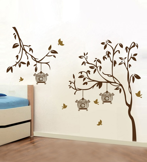 d8748ce093b Buy Brown PVC Vinyl Tree with Birds   Cages Wall Sticker by Decor Kafe  Online - Floral Wall Stickers - Wall Stickers - Wall Art - Pepperfry Product