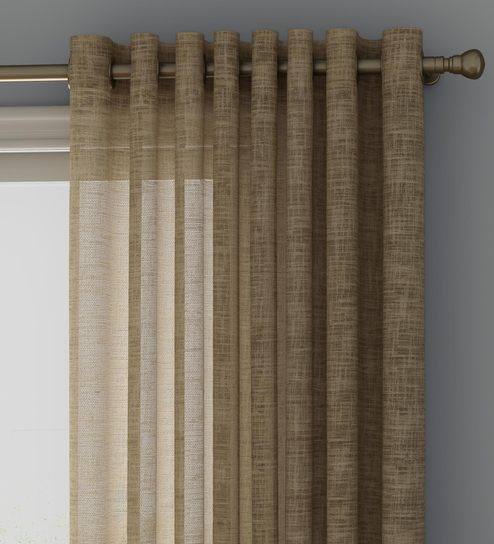Buy Brown Sheer Polyester 7 Feet Eyelet Door Curtains Set Of 2 By Curtain Label Online Solid