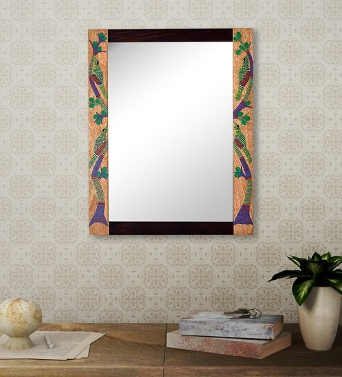 Brown Sheesham Wood Gond Painting Wall Mirror
