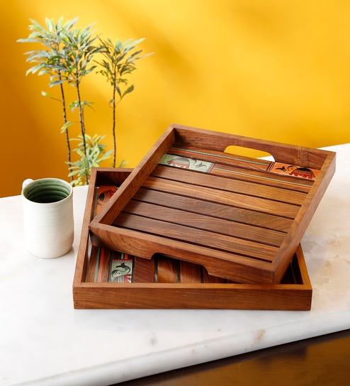 786267ad9aad Buy Brown Sheesham Wood Handcrafted Decorative Tray By Artysta - Set Of 2  Online - Decorative Trays - Decorative Trays - Decor - Pepperfry Product