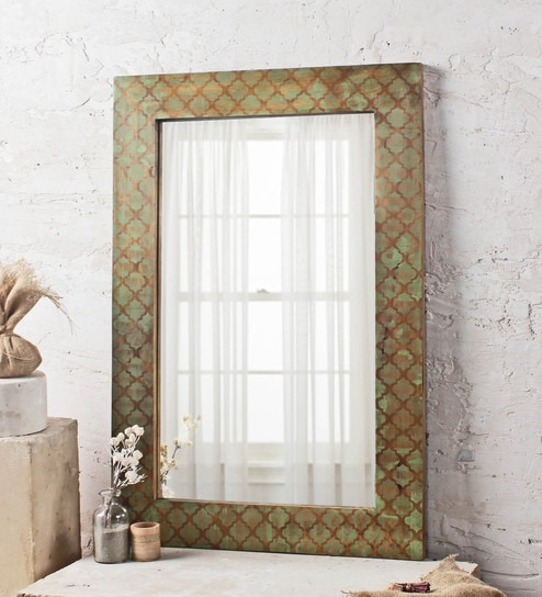 Netty Rectangular Wall Mirror in Solid Wood Frame by Fabuliv
