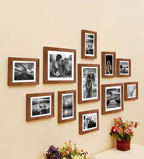 477d15e49d9 Buy Brown Synthetic Wood wall photo frame set of 11 By Art Street ...