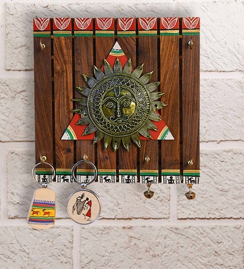 The Sun CentreWarli Hand-Painted Teak Wood Key Holder With Dhokra Art (6  Hooks) By Exclusive Lane