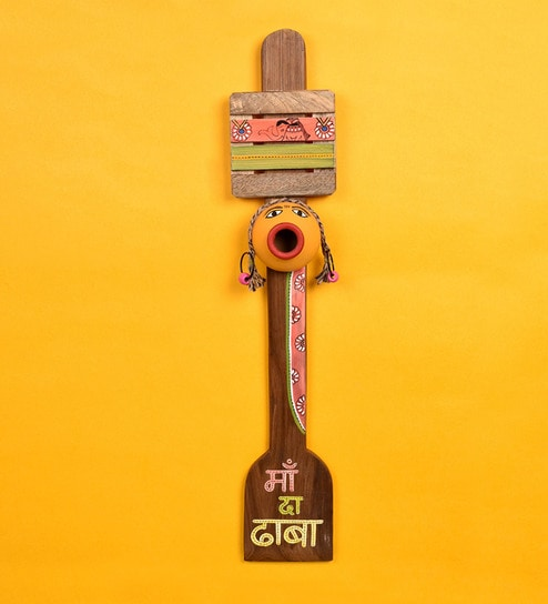 Brown Terracotta & Wood Maa Ka Dhaba' Board by Aakriti Art Creations