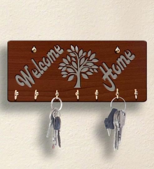 Welcome Home Wooden 7 Hooks Key Holder By Sehaz Artworks