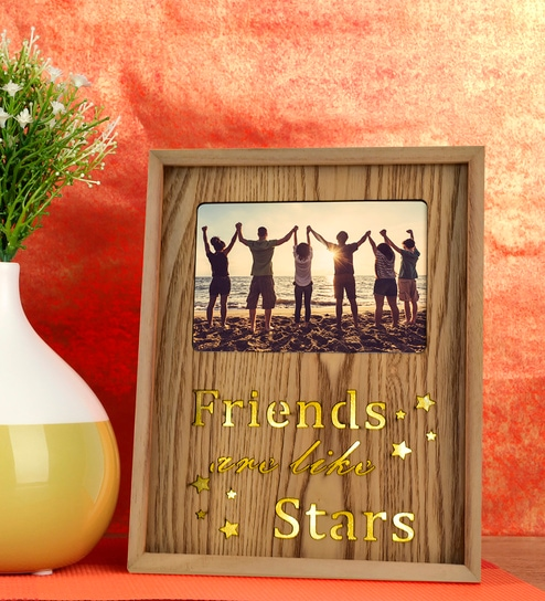fbb101ebe822 Brown Wood   Mdf Friends Are Like Stars Photo Frame With Led Lights By  Archies