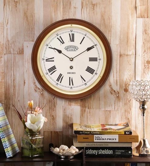 Brown Wood Wall Clock By Seiko