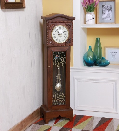 Brown Wood Grandfather Clock By Zahab