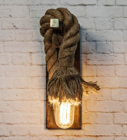 buy popular 8b53b 50db2 Brown Wood and Rope Wall Light by Fos Lighting