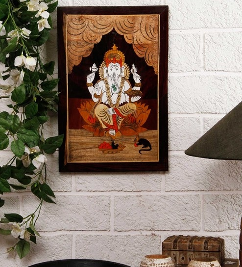 Brown Wood Ganesha Wall Painting By Unravel India