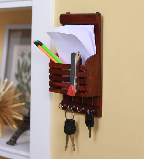Solid Wood Hand-Made Stationary Holder with Hooks in Brown Finish by Zahab