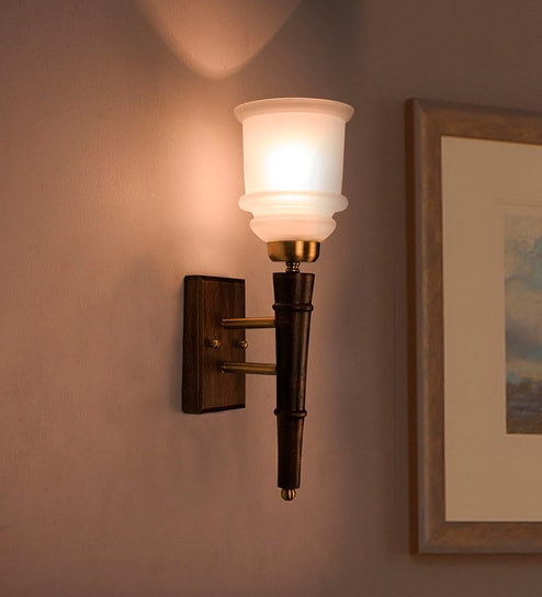 Brown Wood Torchiere 1 Light Wall Sconce By Fos Lighting