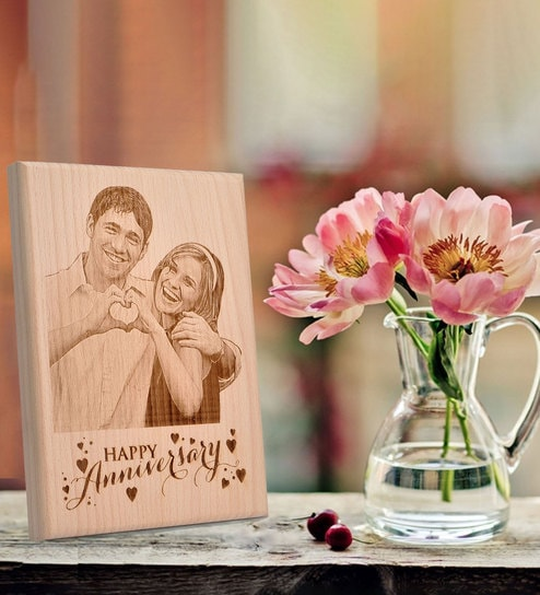 Wedding Anniversary Gift.Brown Wood Wedding Anniversary Gift Photo Plaque By Engrave