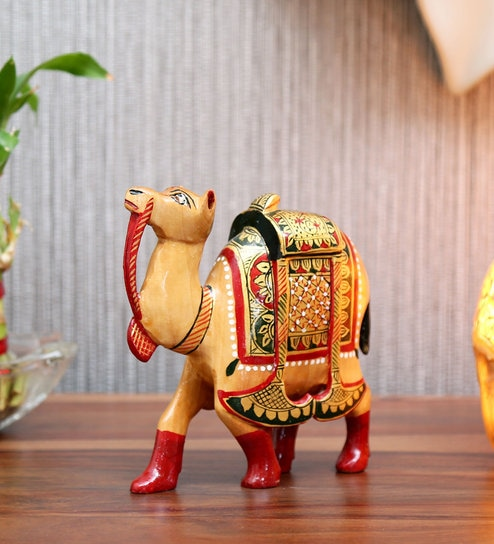 Buy Brown Wooden Camel Jaipur Printing By Devi Handicrafts Online