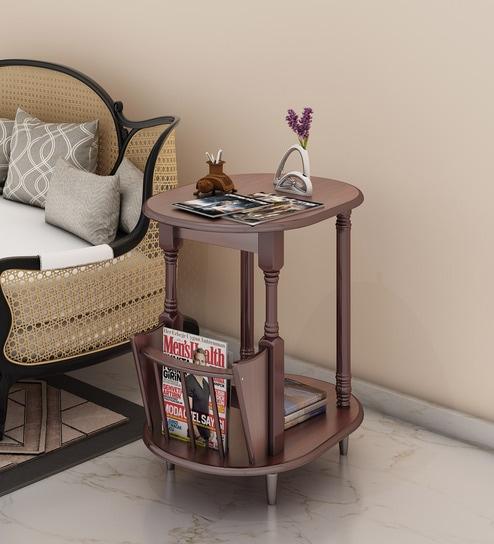 Bruno End Table Magazine Rack In Walnut Finish By Royal Oak