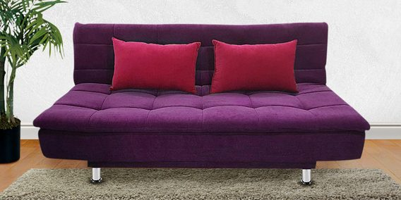 Awe Inspiring Breeza Fabric Sofa Cum Bed With Cushions In Purple Colour By Iris Furniture Interior Design Ideas Ghosoteloinfo