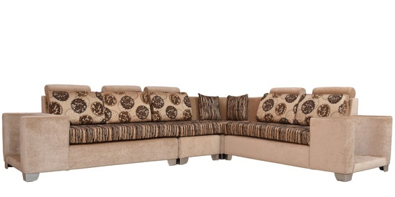 Aris (2 + 2 + 1) Corner Sofa with 5 Big Cushions & 2 Small Coushions + 4  Pouffes by Crystal Furnitech