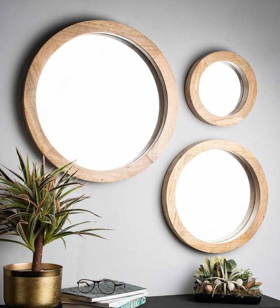 Mango Wood Round Wall Mirror In, How To Hang Three Circle Mirrors