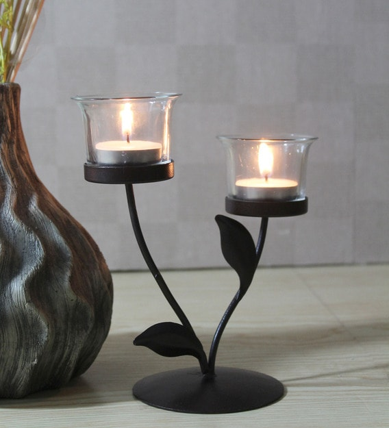 Buy Black Metal Table Tea Light Holder By Hosley Online Table Tea Light Holder Festive Lights Lamps Lighting Pepperfry Product