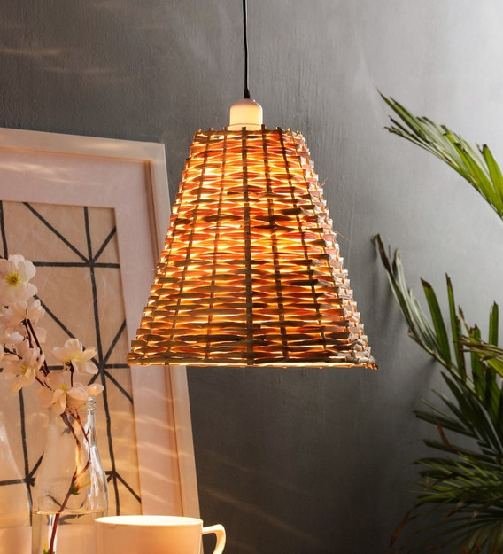 Buy Brown Natural Fiber Single Hanging Lights By Tu Casa Online Contemporary Single Hanging Lights Ceiling Lights Lamps Lighting Pepperfry Product