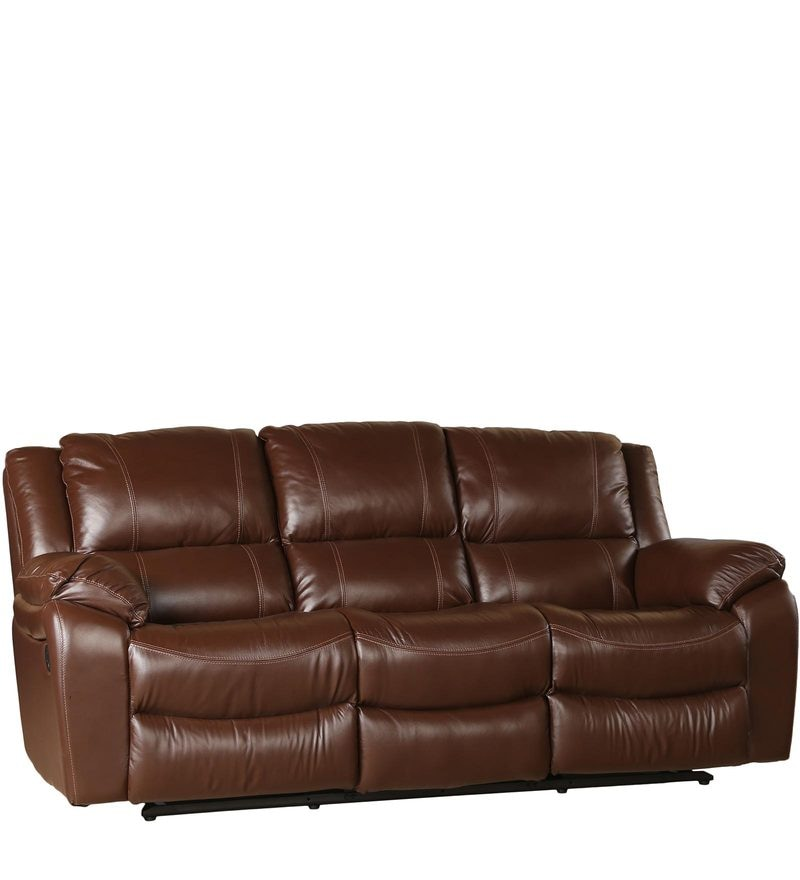 Bristol Three Seater Recliner in Brown Leatherette by HomeTown