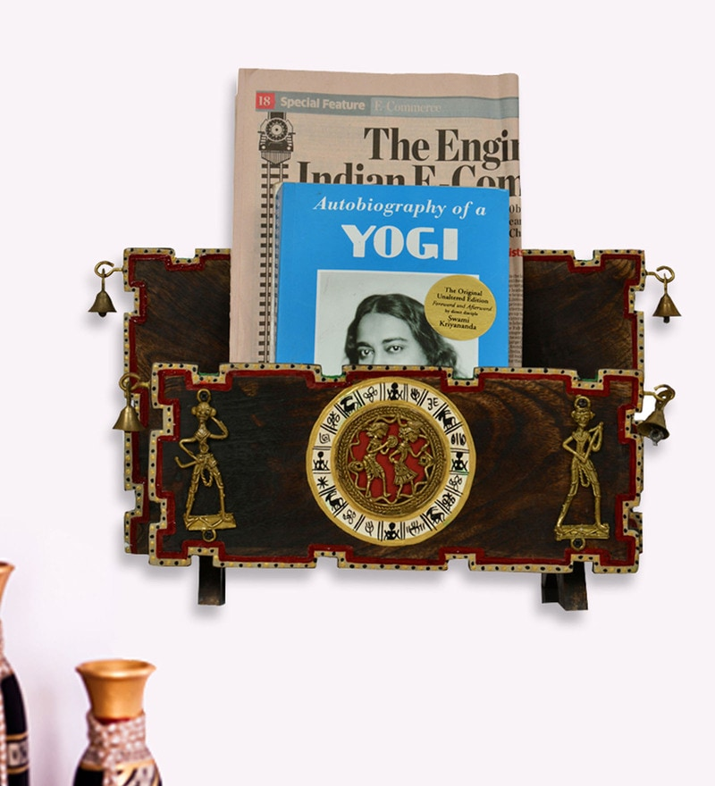 Brown & Gold Mango Wood & Brass Dhokra & Warli Work Wall Cum Table Magazine & Newspaper Stand by ExclusiveLane