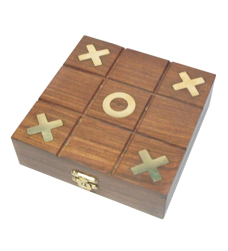Brown & Golden Hard Wood Tic Tac Toe Game By Home Sparkle