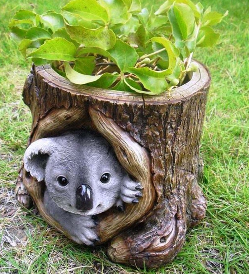 Brown & Grey Resin Koala Decorative Planter by Wonderland