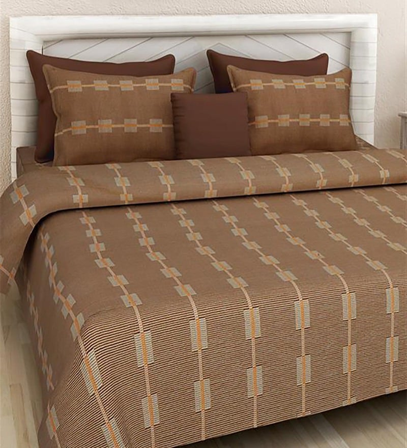 Brown 100% Cotton Queen Size Bed Cover - Set of 3 by Soumya