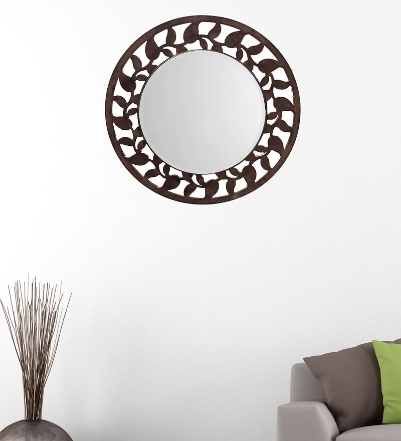 Brown 14.5 x 0.5 x 14.5 Inch Leaf Border Mirror by Height of Designs