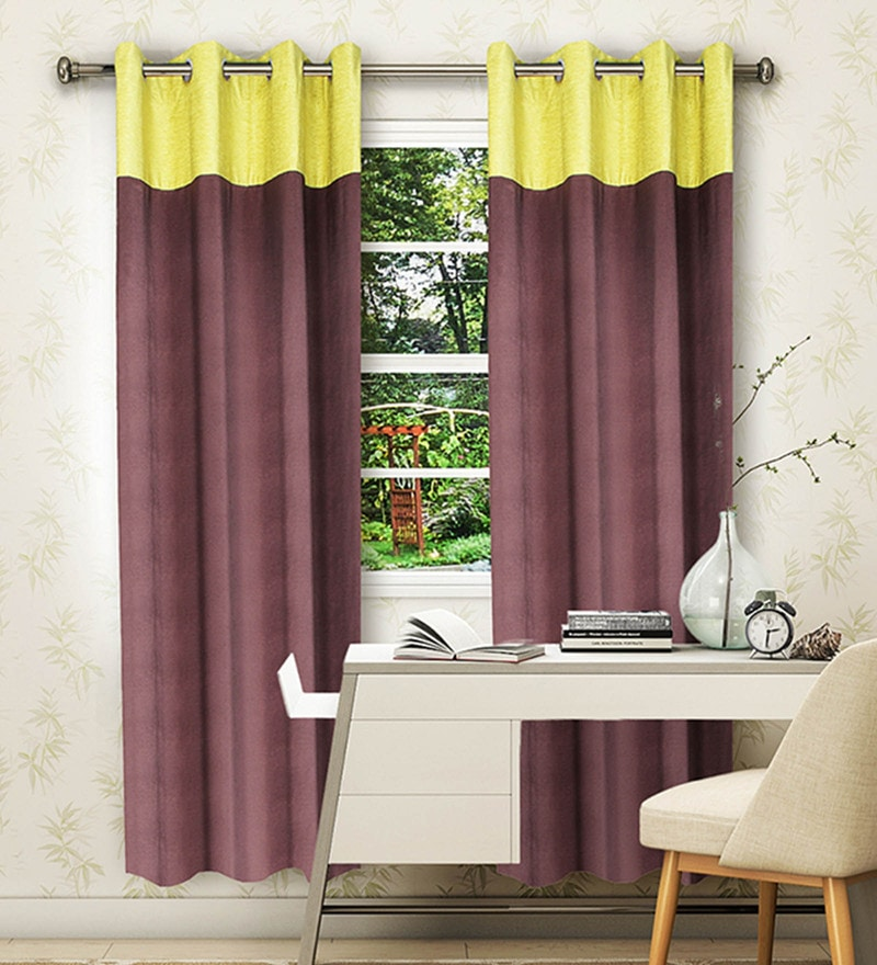 Brown and Green Polyester and Chenille 62 x 53 Inch Plain Window Curtain - Set of 2 by Vista Home Fashion