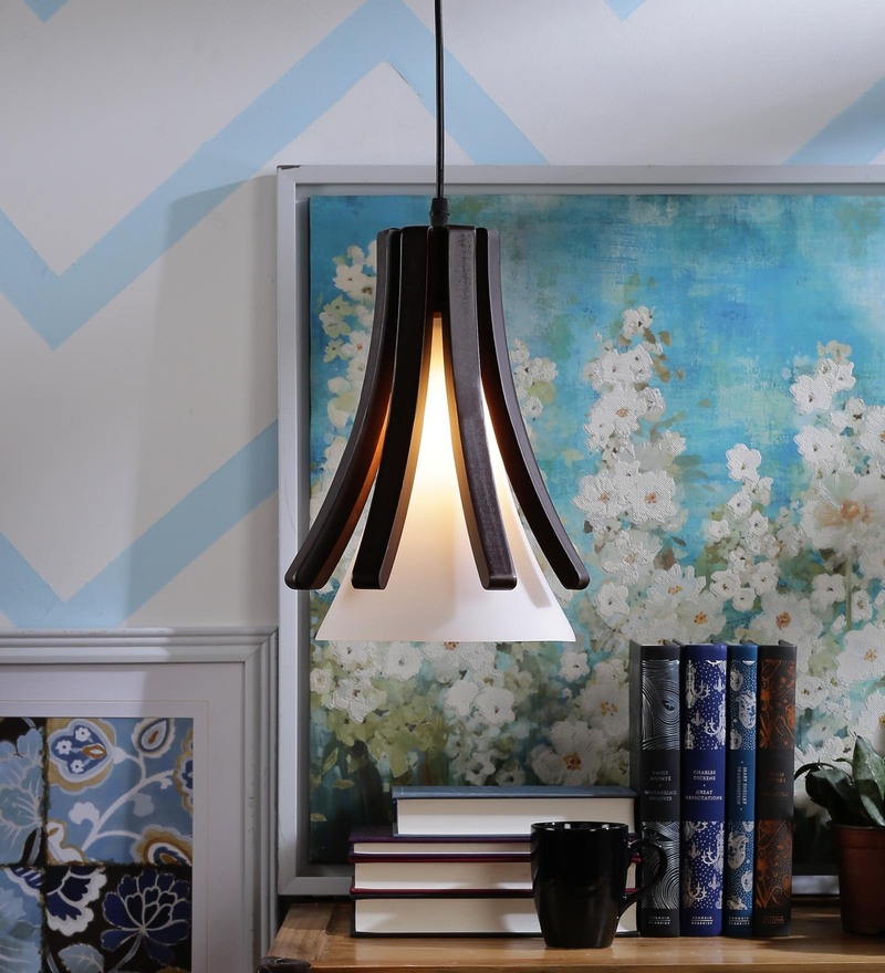 Brown and White Glass and Wood Hanging Light by Aesthetics Home Solution