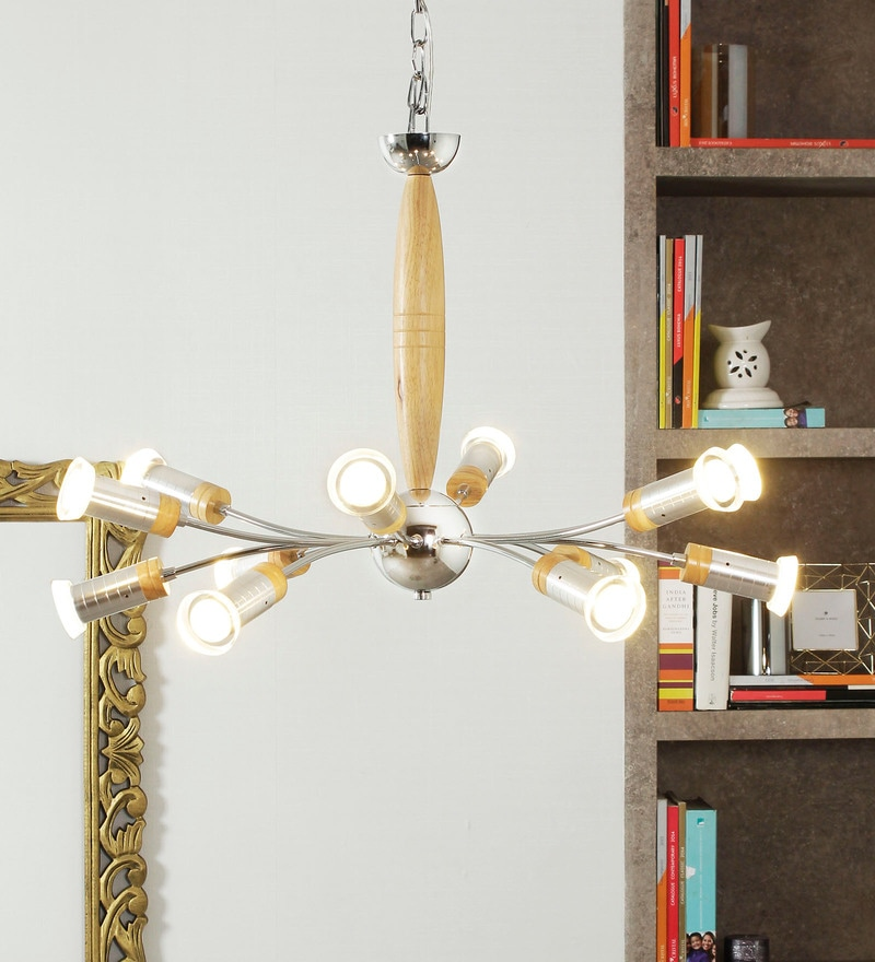 Brown and White Wood and Aluminium Neuston Chandelier by Jainsons Emporio