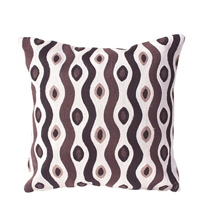 Brown Cotton 16 x 16 Inch Cushion Cover by R Home