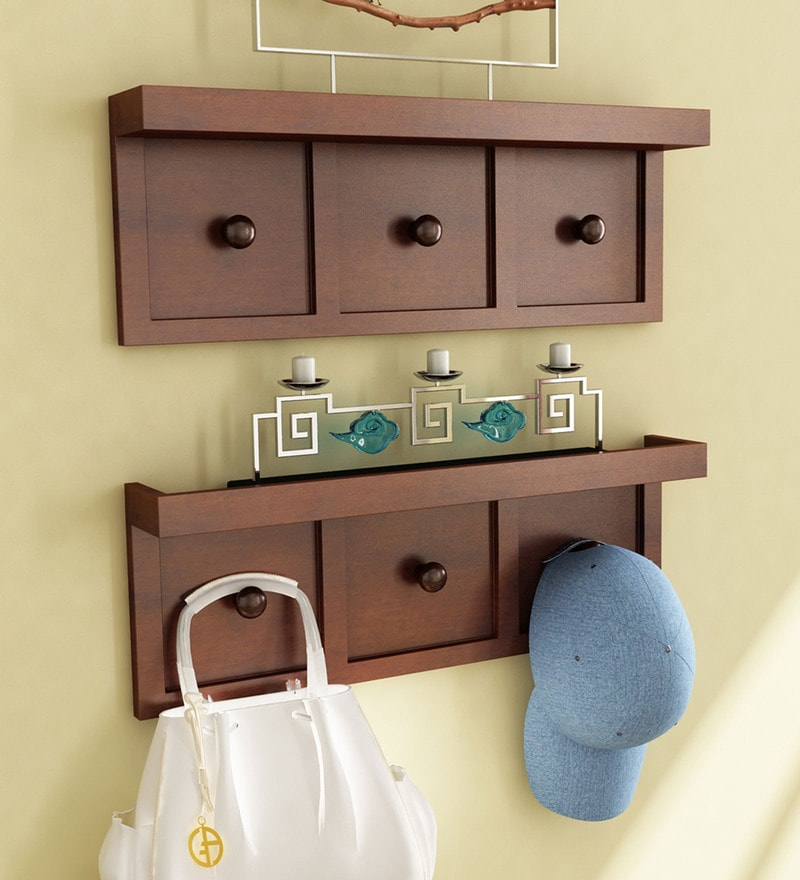Brown Engineered Wood Wall shelf W/ Key Holder - Set of 2 by Home Sparkle