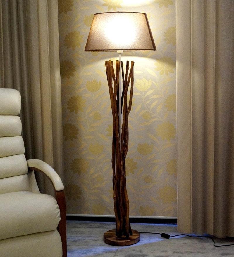 Buy the purple turtles beige wooden floor lamp post online brown jute floor lamp by tu casa mozeypictures Gallery