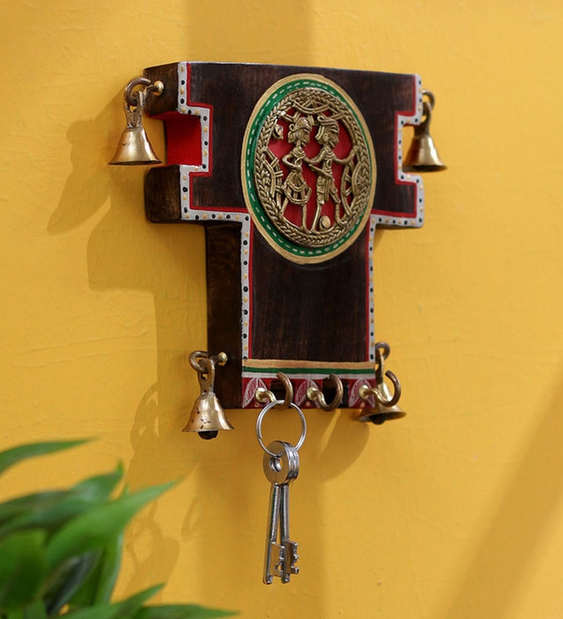 Brown Mango wood Dhokra Key Hook by VarEesha