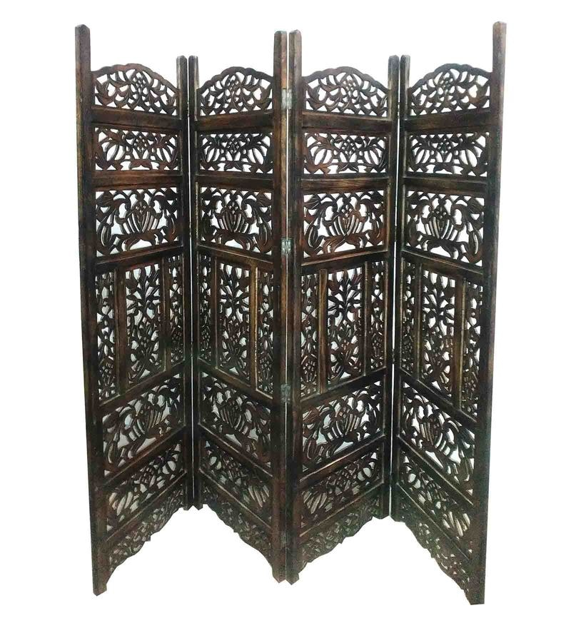 Brown MDF & Mango Wood Handcrafted Partition Screen by Aarsun Woods