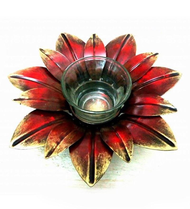 Brown Metal Aarav Lite Tea Light Holder by Vedas
