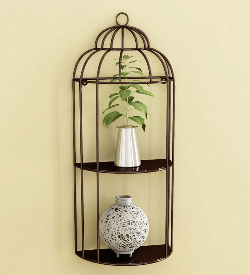 Brown Mild Steel Cage Shelf By Home Sparkle