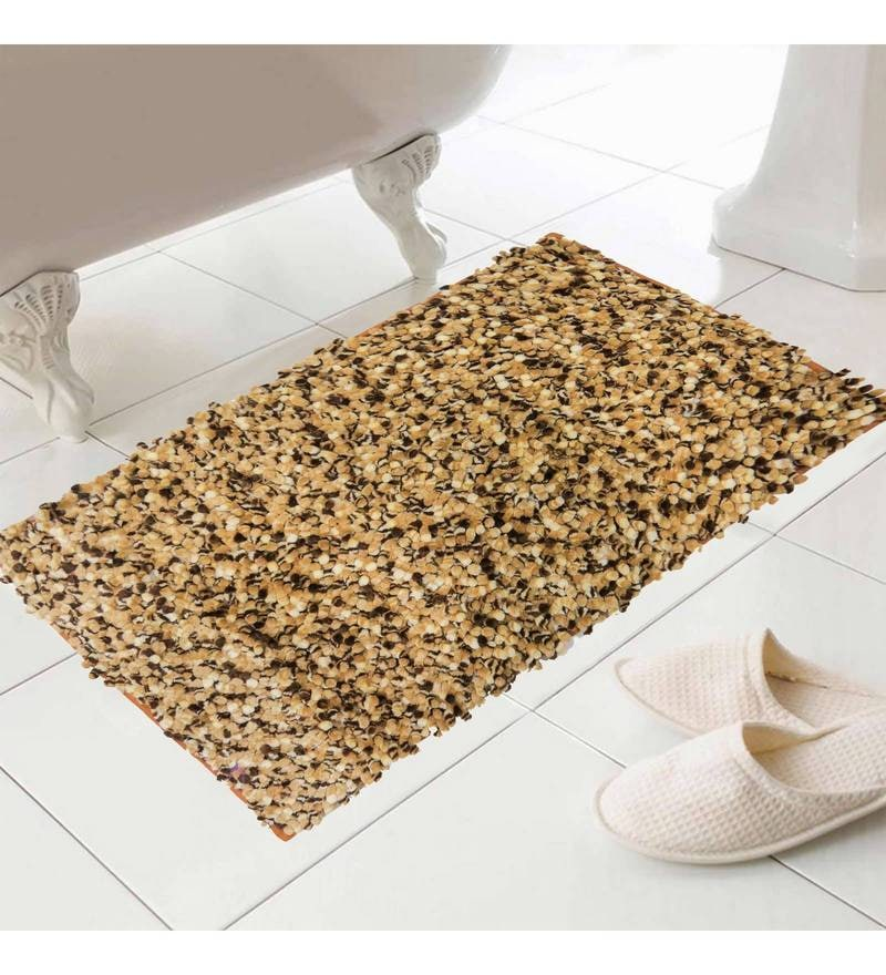 Brown Polyester 24 x 16 Inch Bath Mat by Skipper