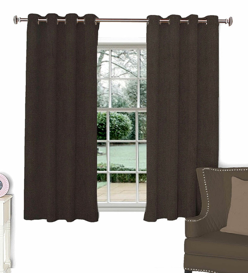 Brown Polyester Window Curtain by Skipper