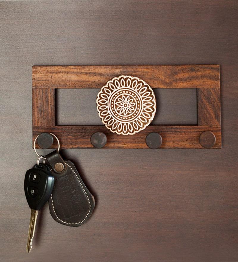 buy brown sheesham wood flower block key holder wall. Black Bedroom Furniture Sets. Home Design Ideas