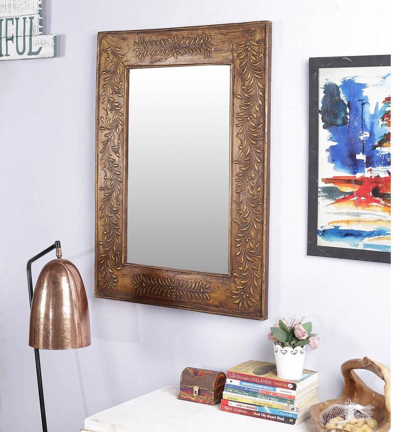 Brown Solid Wood Rajputana Jodhpuri Mirror by Art of Jodhpur